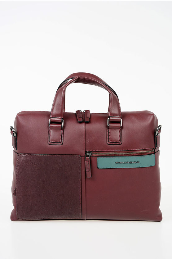 Details About Piquadro Men Bussiness Bags Leather Documents Business Bag Burgundy Burgundy