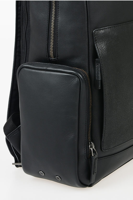 BAGMOTIC Notebook Ipad Leather Backpack Black