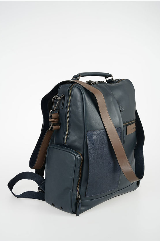 BAGMOTIC Zaino in Pelle Porta  Notebook e Ipad Blu Scuro