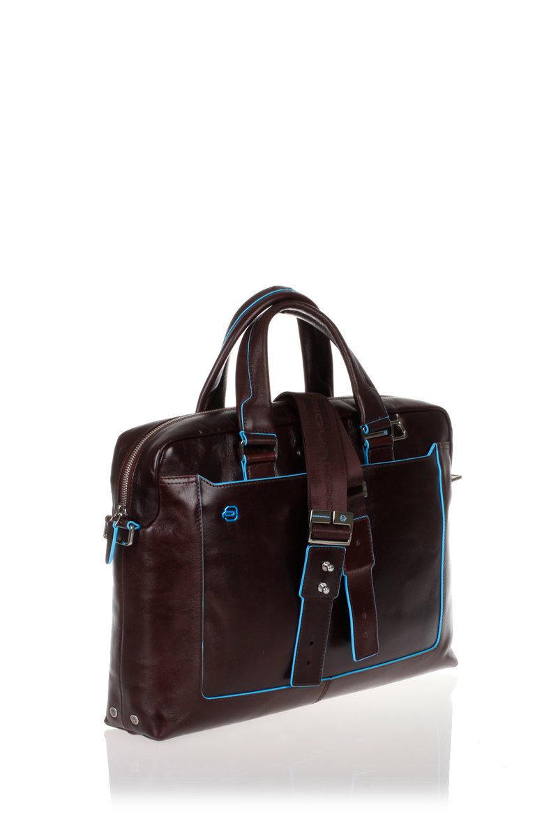 bdb1458685 BLUE SQUARE Cartella Porta PC Mogano Piquadro uomo - Cuoieria Shop ...