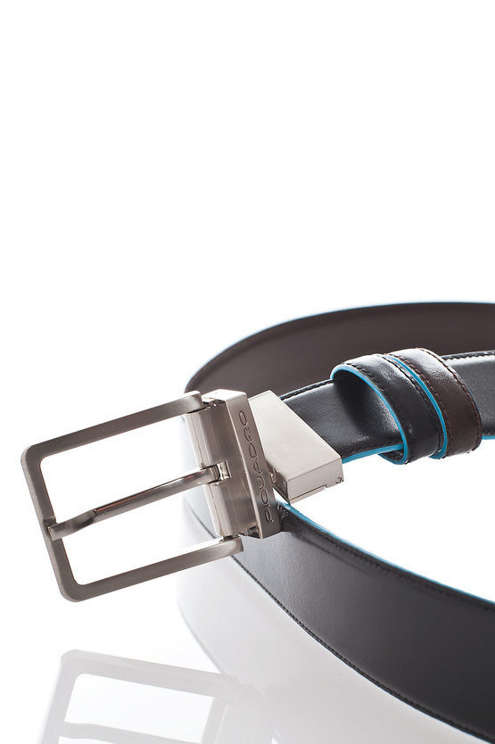 BLUE SQUARE Cintura Reversibile Nero/Mogano