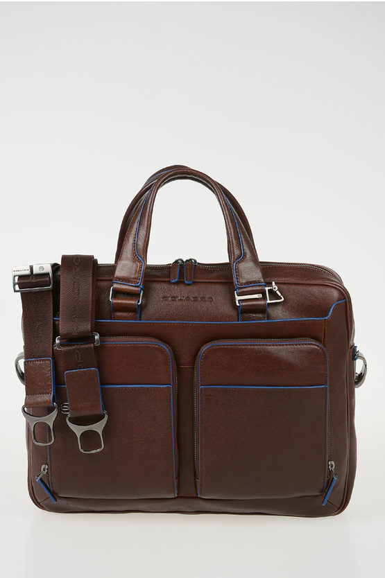 BLUE SQUARE Leather Ipad Pc Business Bag Brown