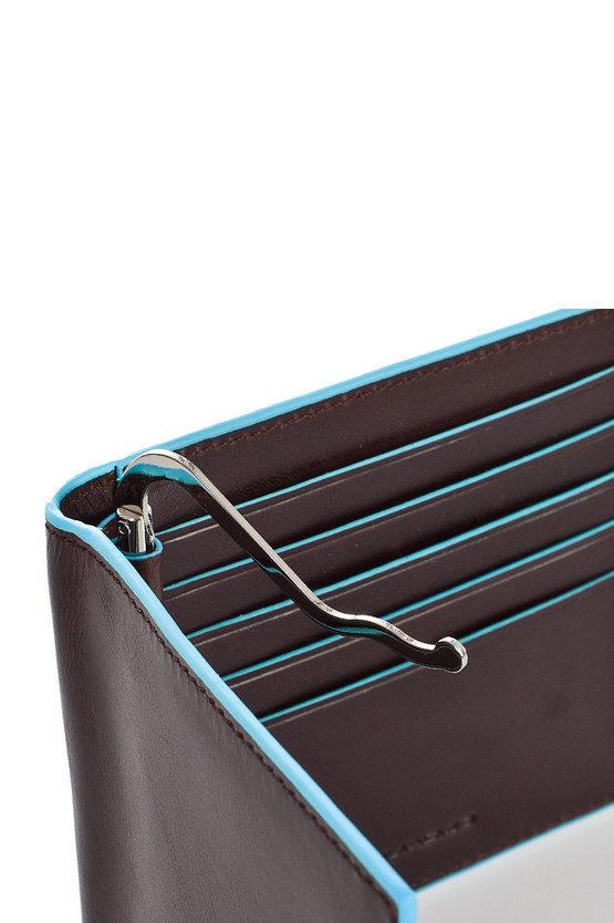 BLUE SQUARE Portafoglio con Molla per Banconote Marrone