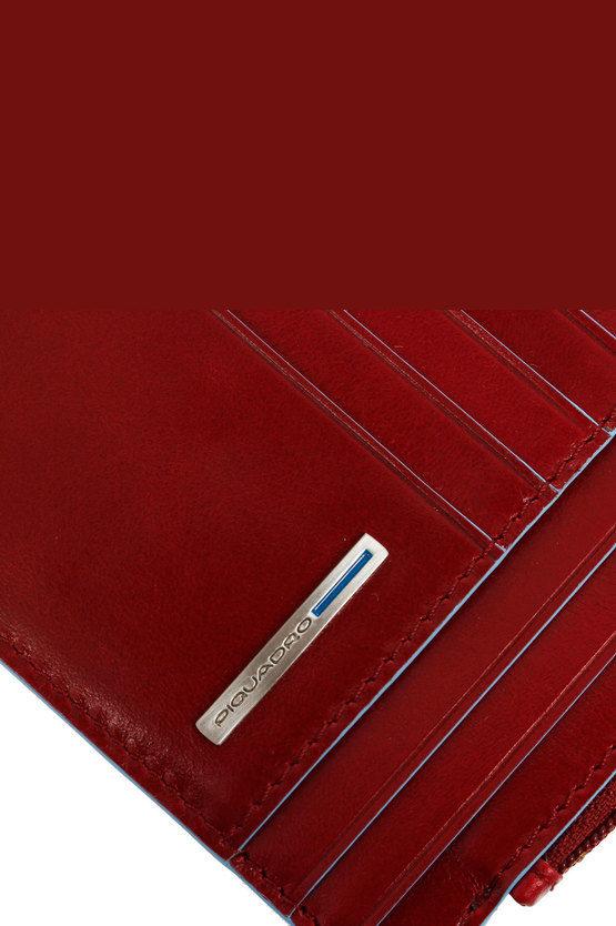 BLUE SQUARE Portafoglio Portamonete, Documenti e Carte di Credito Rosso