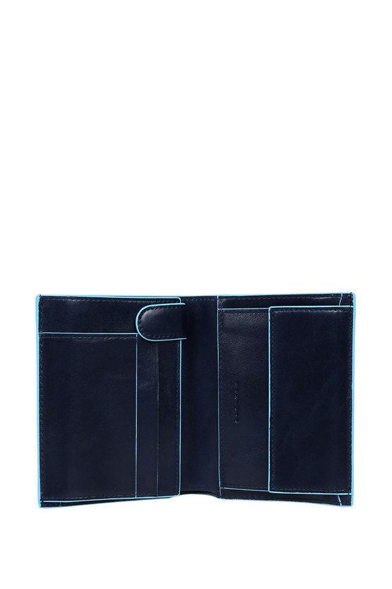BLUE SQUARE Portafoglio verticale con Portamonete Blu