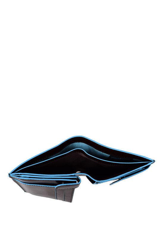 BLUE SQUARE Portafoglio Verticale con Portamonete Mogano