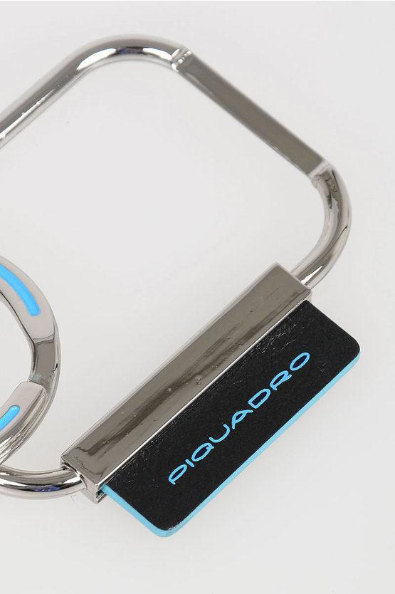 BLUE SQUARE Rectangular Keychain Black