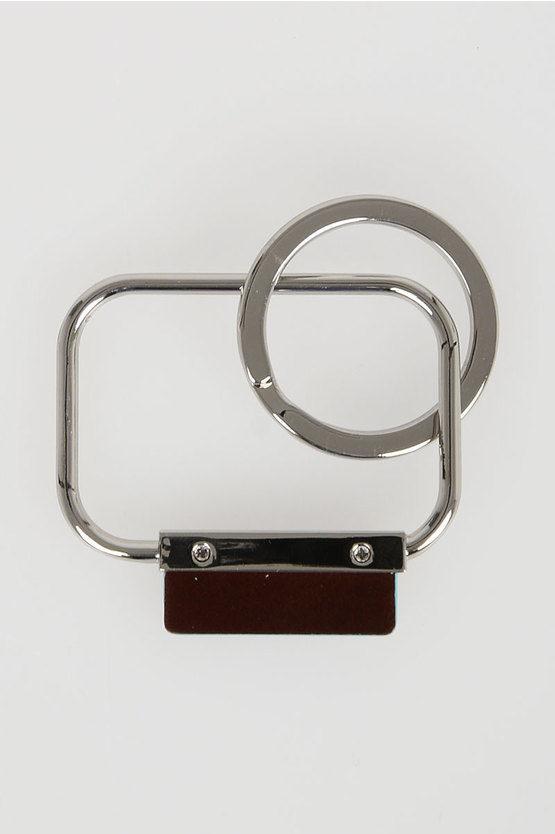 BLUE SQUARE Rectangular Keychain Mahogany