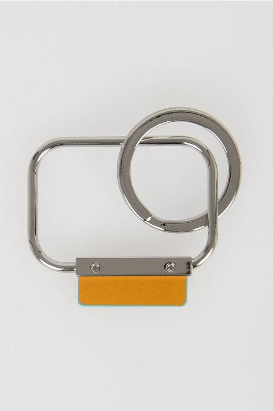 BLUE SQUARE Rectangular Keychain Yellow