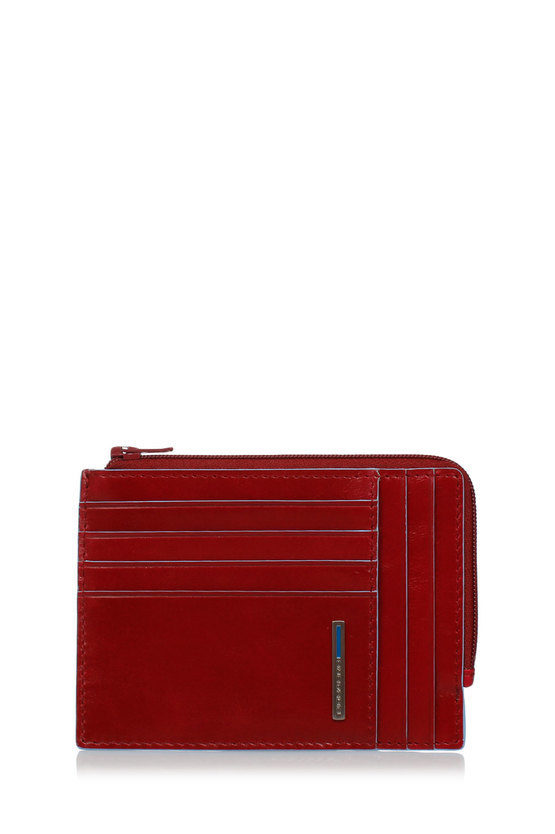 BLUE SQUARE Wallet with Coin Case, Documents Holder and Credit Card slots Red