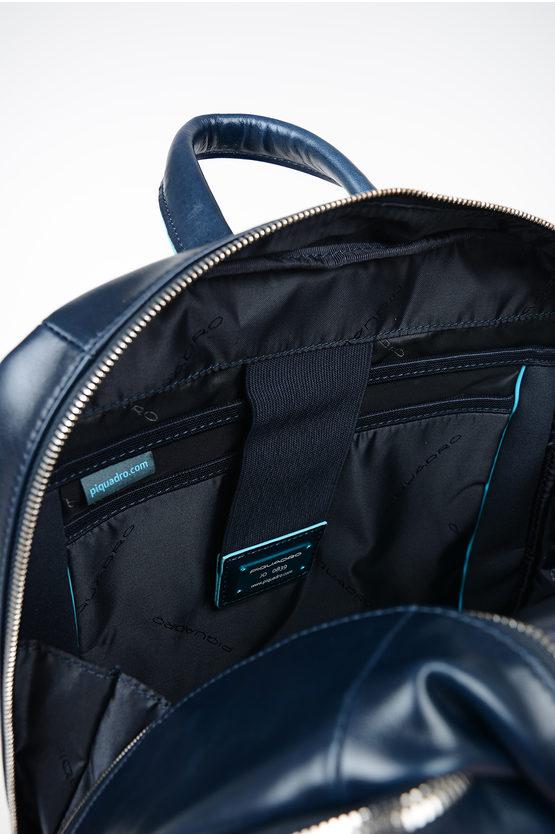 BLUE SQUARE Zaino in Pelle Porta Computer e Ipad Blu