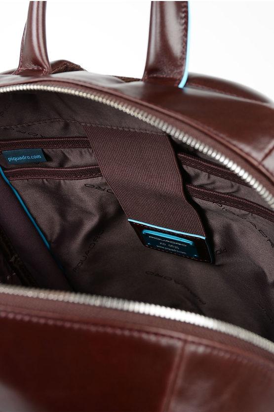 BLUE SQUARE Zaino in Pelle Porta Computer e Ipad Mogano