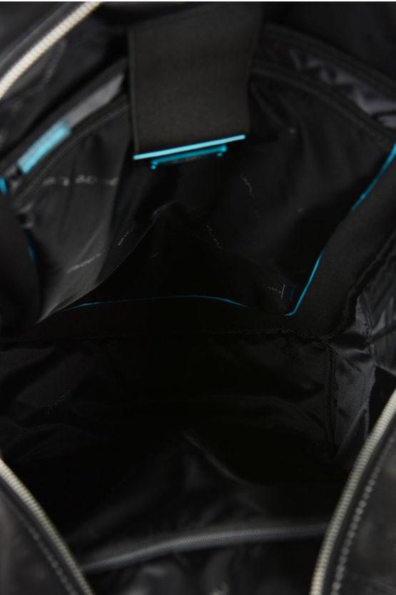 BLUE SQUARE Zaino in Pelle Porta Computer e Ipad Nero