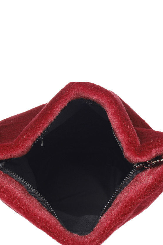 Borsa a spalla in pelliccia finta con frange