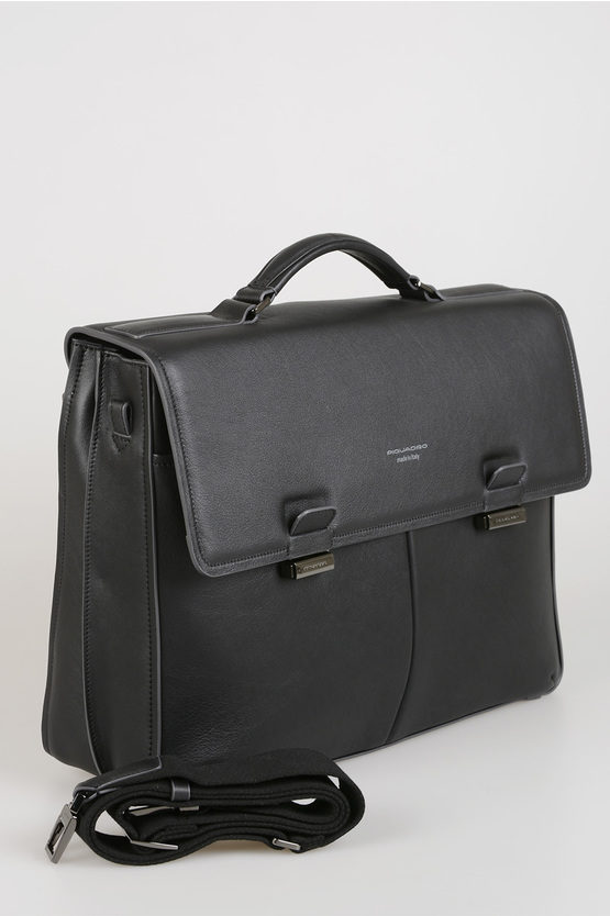 DAVID Leather Two Closure Briefcase black