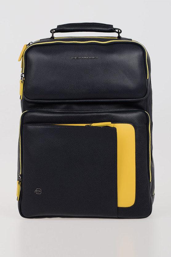 ERSE Zaino porta PC/iPad in Pelle Blu/Giallo