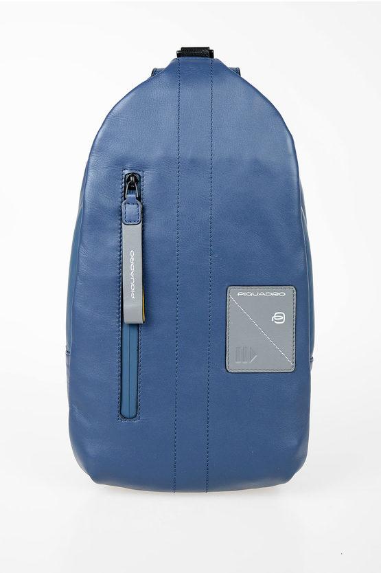 EXPLORER Borsello Monospalla in Pelle Blu