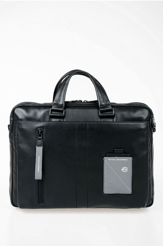 EXPLORER Leather Business Briefcase Black
