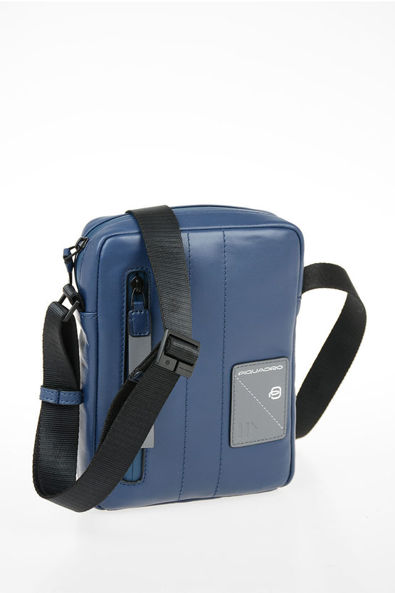 EXPLORER Leather Crossbody Bag Blue