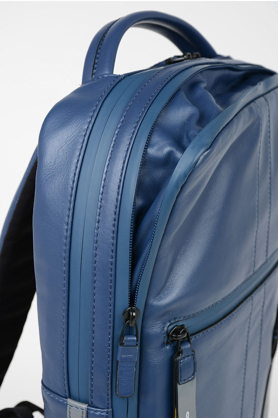 EXPLORER Leather Expandable  computer Backpack Blue