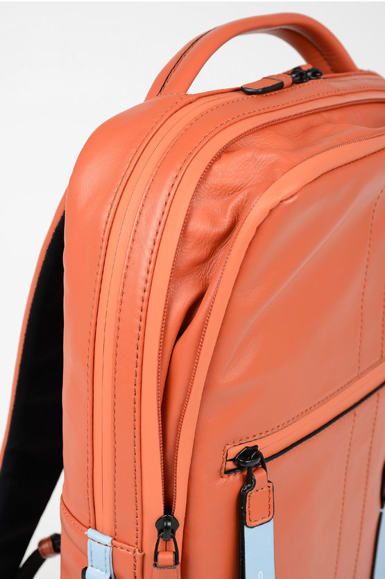 EXPLORER Leather Expandable  computer Backpack Orange