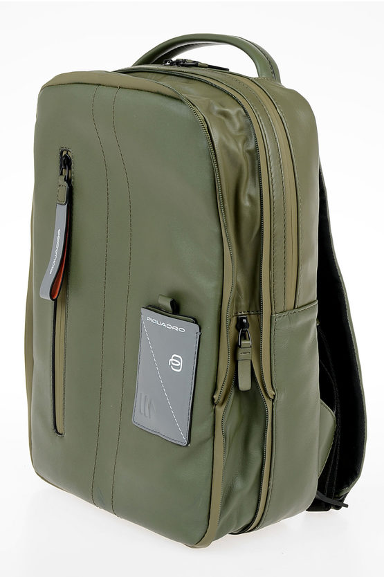 EXPLORER Leather Expandable  computer iPad® Backpack Green