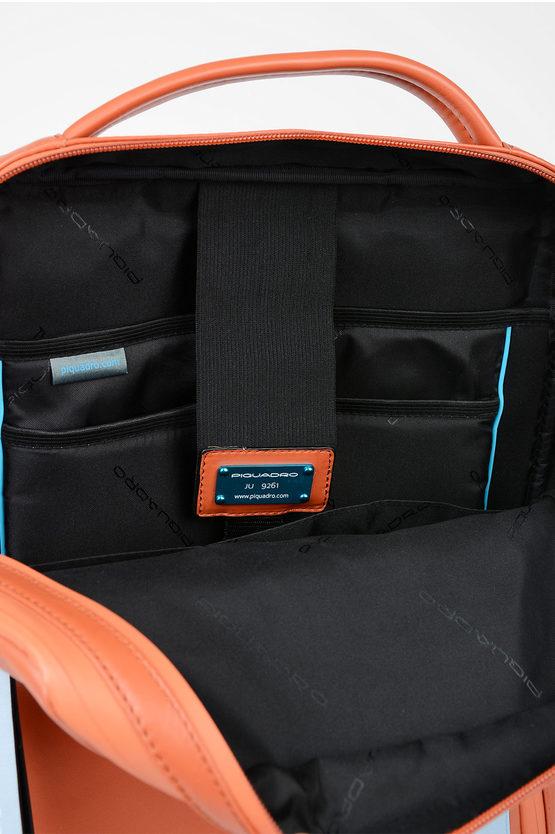 EXPLORER Zaino in Pelle Espandibile Porta Computer Arancio