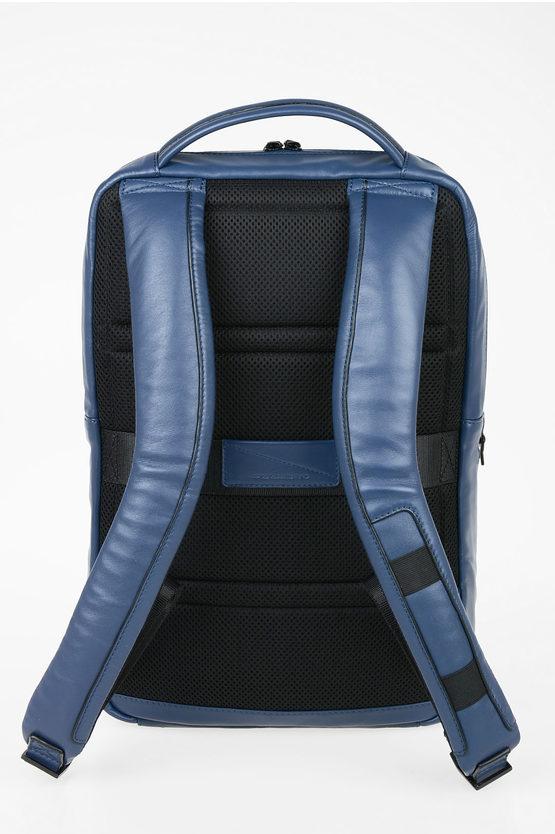 EXPLORER Zaino in Pelle Espandibile Porta Computer Blu