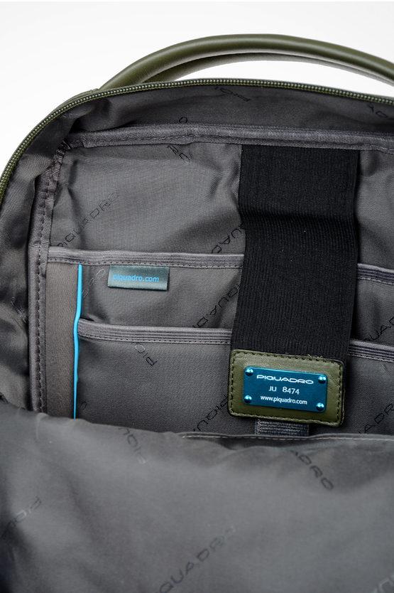 EXPLORER Zaino in Pelle Espandibile Porta Computer Verde