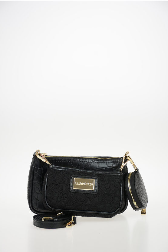 Faux Leather Laced and Crocodile Printed ILENIA Double Pouch