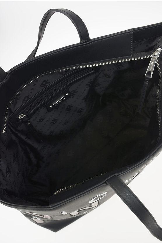 Faux Leather Logo Embroidered GEBERGA Shopping Bag