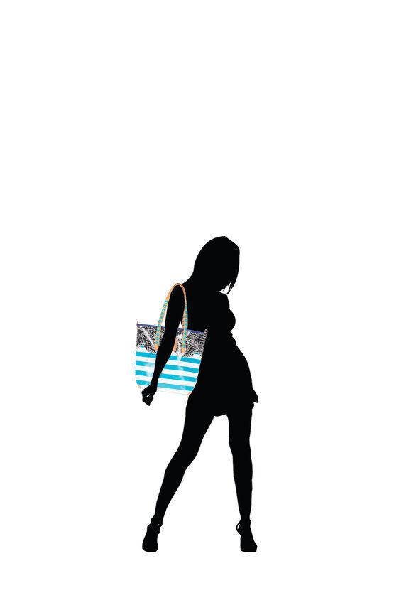GABSILLE Borsa Shopper Stampa Astratto Azzurro