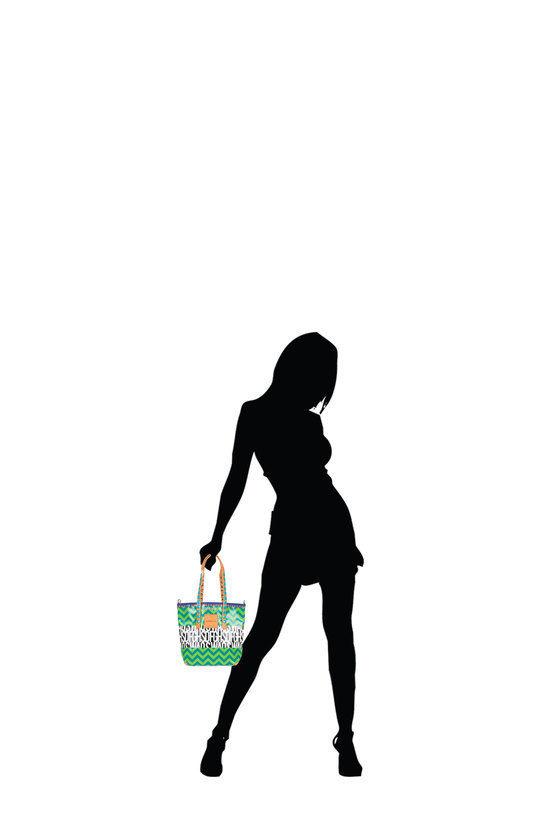 GABSILLE Borsa Shopper Stampa Astratto Verde