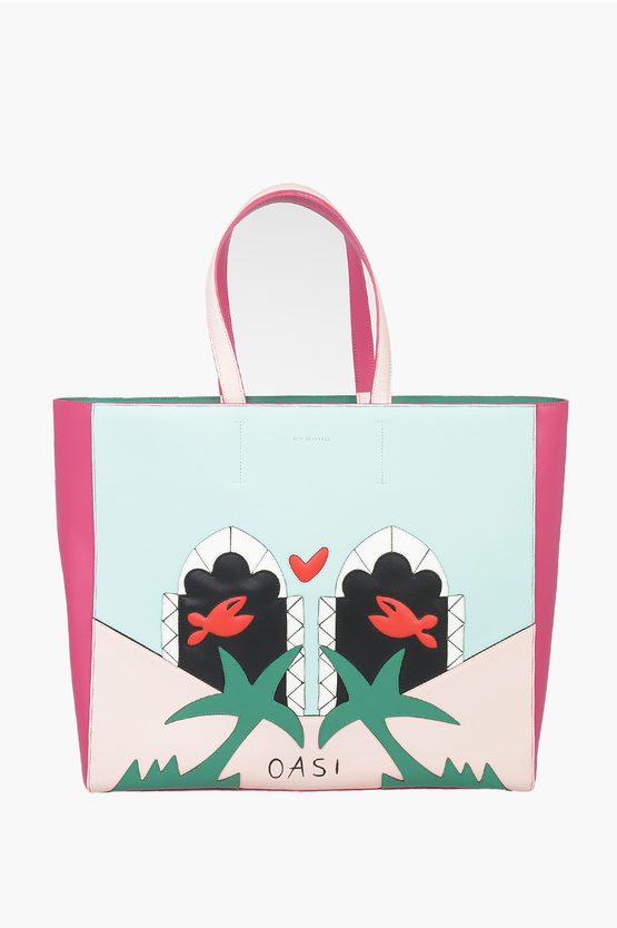 Leather TRAVEL IN LOVE shopper Bag