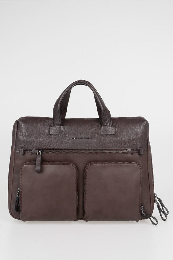 LINE Leather Briefcase Brown