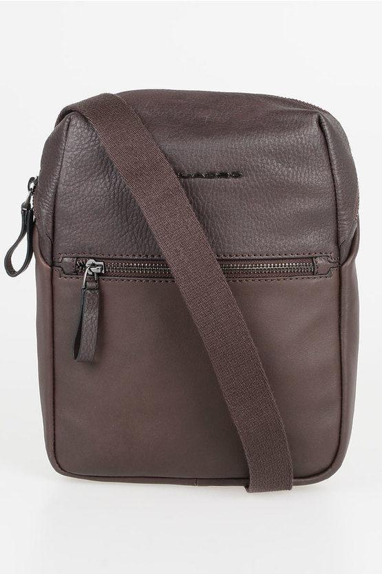 LINE Leather Strap Crossbody Bag Brown