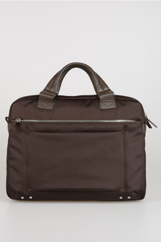 LINK Fabric Leather Business Bag Dark Brown