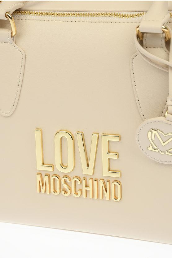 LOVE Borsa a Mano GOLD METAL LOGO in Ecopelle