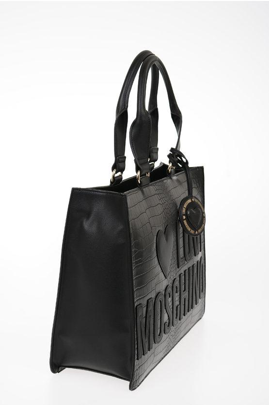 LOVE Faux Leather Crocodile Printed Bag