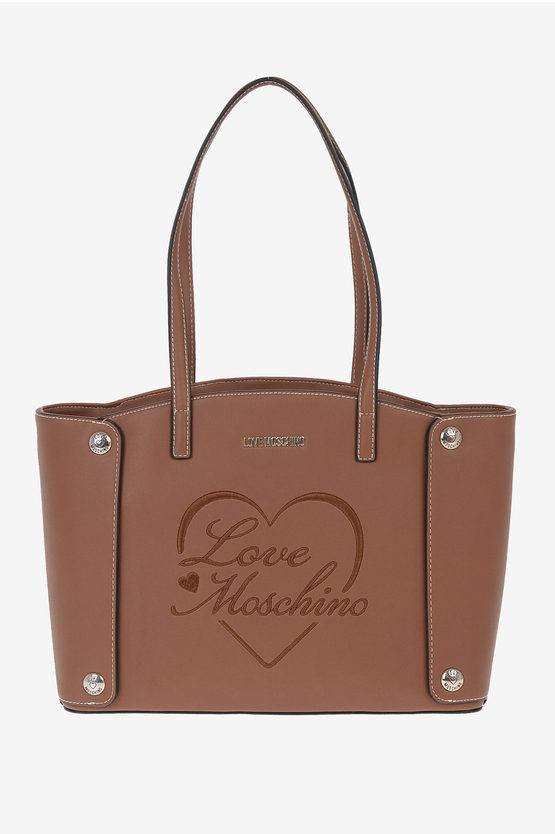 LOVE Faux Leather Embroidered Tote Bag