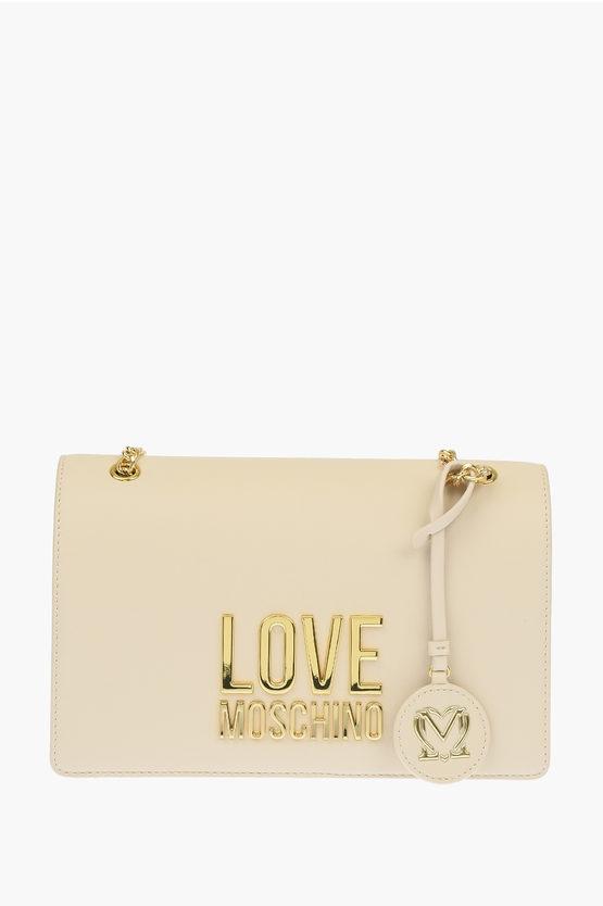 LOVE Faux Leather GOLD METAL LOGO Shoulder Bag