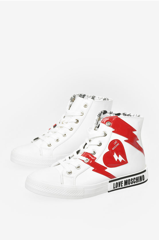 LOVE Faux Leather High Sneakers