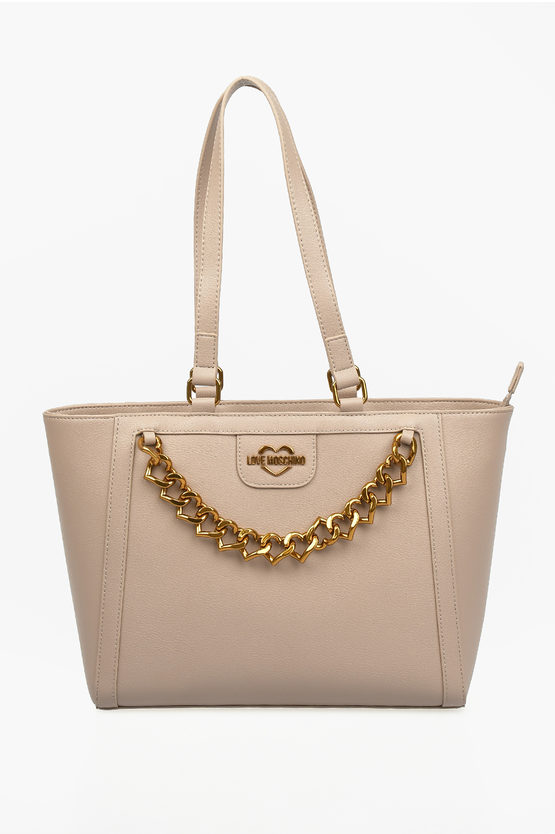 LOVE Faux Leather NEW CHAIN HEART Tote Bag