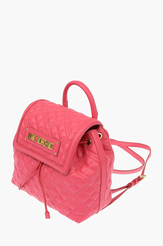 LOVE Faux Leather NEW SHINY QUILTED Backpack