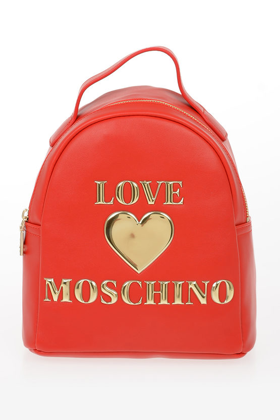 LOVE Faux Leather PADDED SHINY HEART Backpack