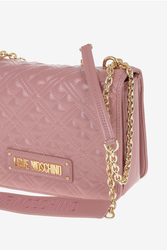 LOVE Faux Leather Quilted Shoulder Bag