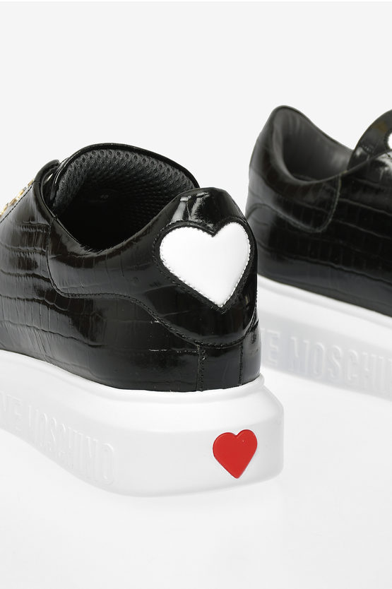 LOVE Leather Crocodile Printed RUNNING Sneakers