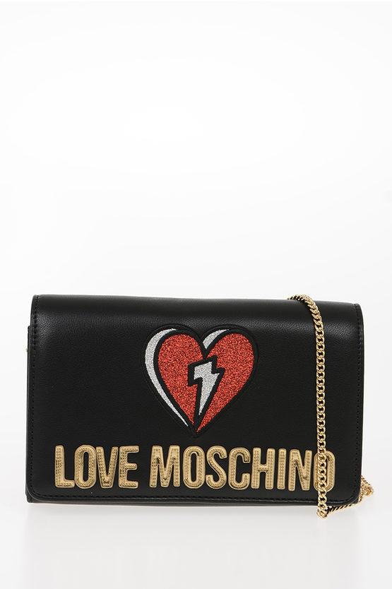 LOVE Pochette PADDED SHINY HEART in Ecopelle