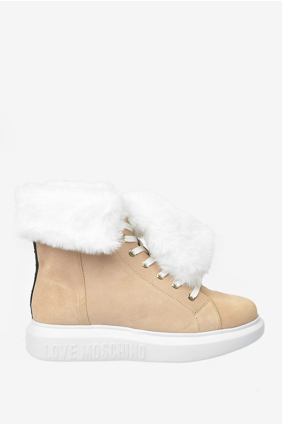 LOVE Suede Leather RUNNING Sneakers with Faux Fur
