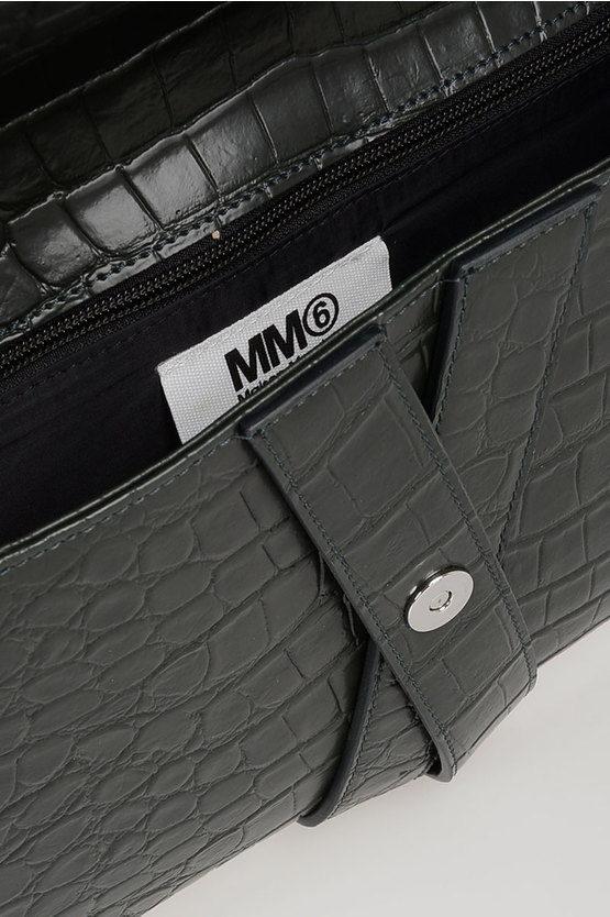 MM6 Maxi Pochette in Ecopelle Stampa Coccodrillo